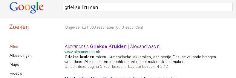 Alexandraas.nl op nummer één in de zoekresultaten
